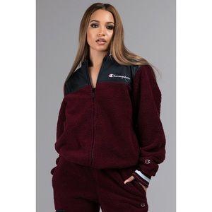 Champion sherpa fleece baseball jacket